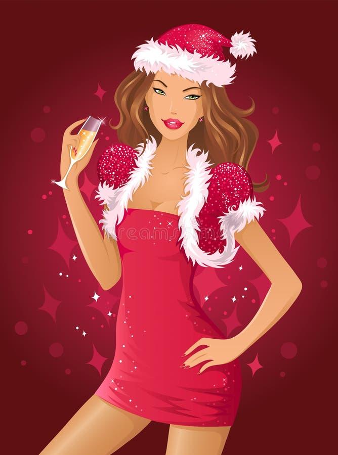 礼服女孩性感的圣诞老人 库存例证