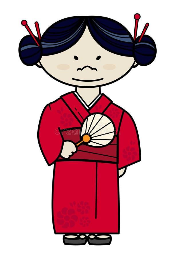 礼服女孩日本传统 向量例证