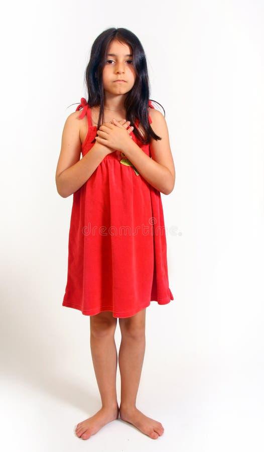 礼服女孩红色年轻人 免版税库存照片