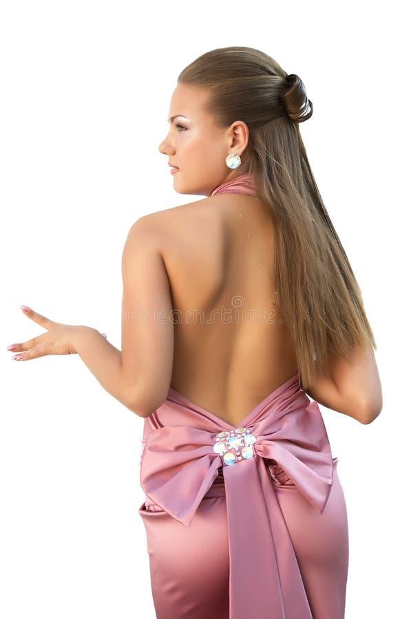 礼服性感女孩的粉红色 免版税库存图片