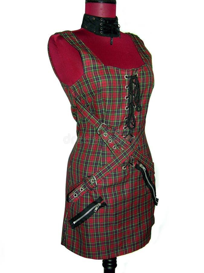 礼服时装模特格子花呢披肩废物 免版税库存图片