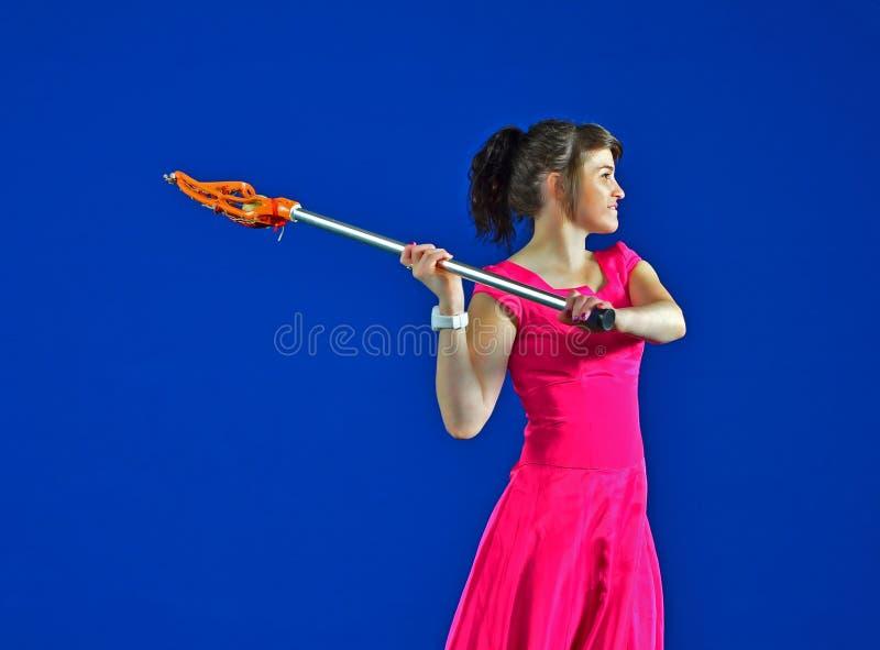 礼服曲棍网兜球球员正式舞会 免版税图库摄影