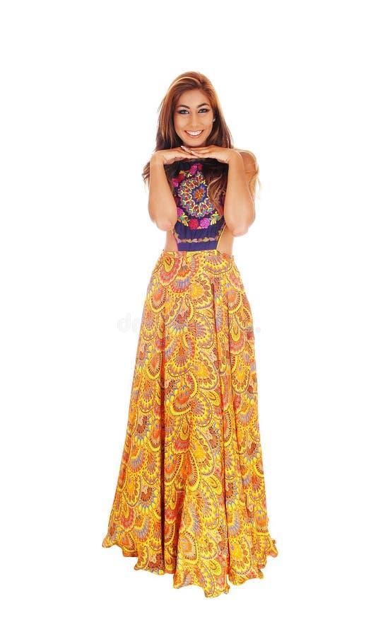 礼服的愉快的高妇女 图库摄影