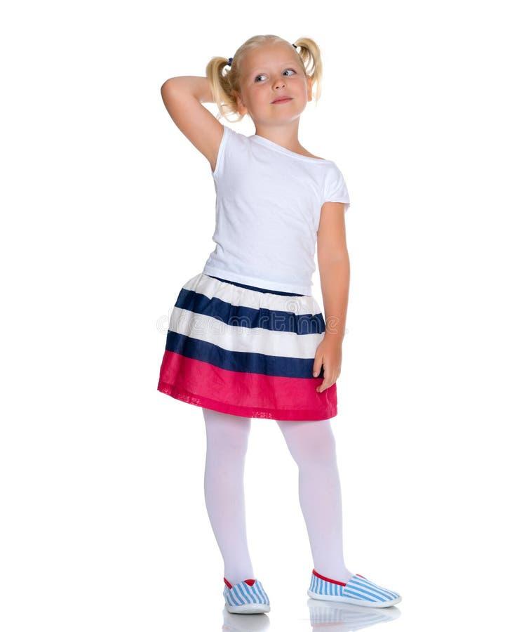 礼服的时兴的小女孩 免版税图库摄影