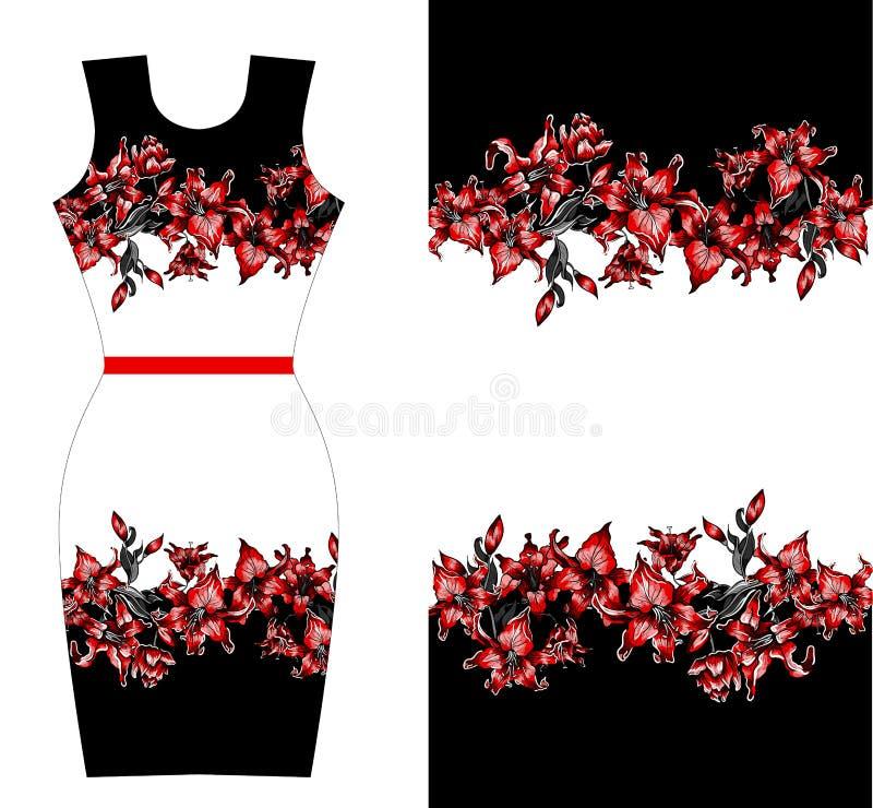 礼服的红色百合印刷品设计 夏天秋天开花纺织品汇集 库存例证