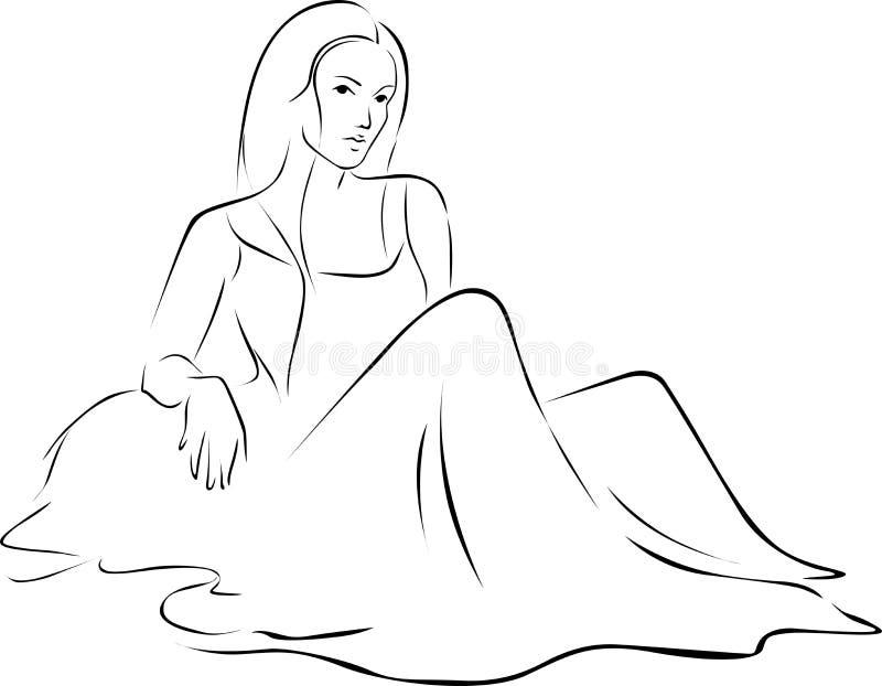 礼服的美丽的妇女坐地面-导航黑概述 皇族释放例证