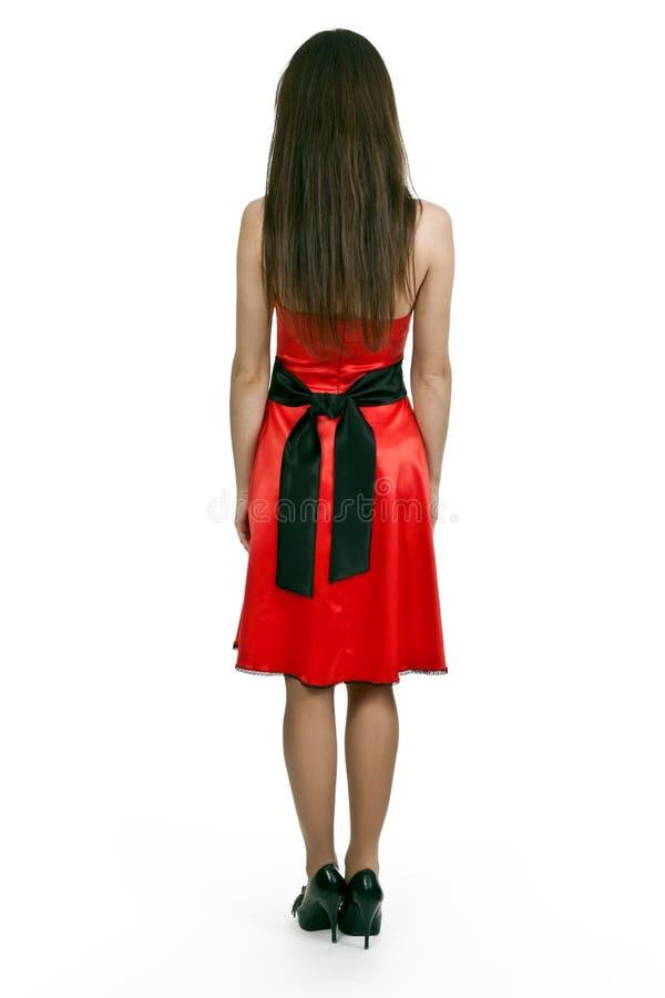 礼服红色妇女 免版税库存图片