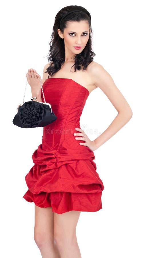 礼服红色性感的妇女年轻人 库存图片