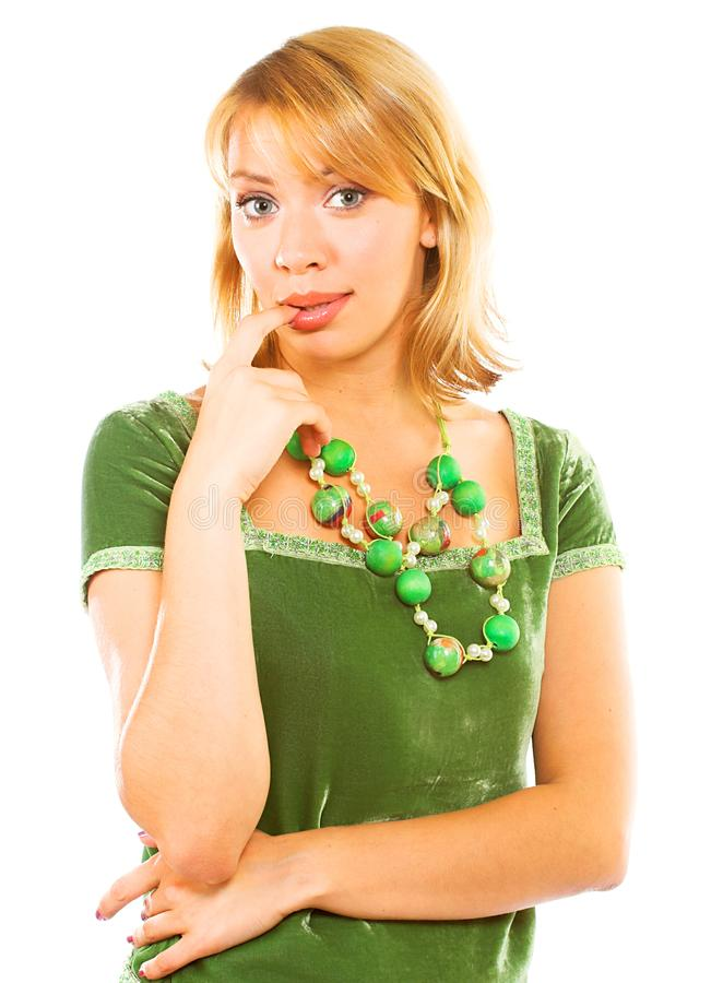 礼服绿色妇女 免版税库存图片