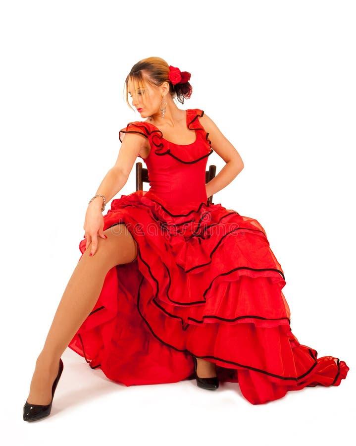 礼服西班牙夫人红色年轻人 免版税库存照片
