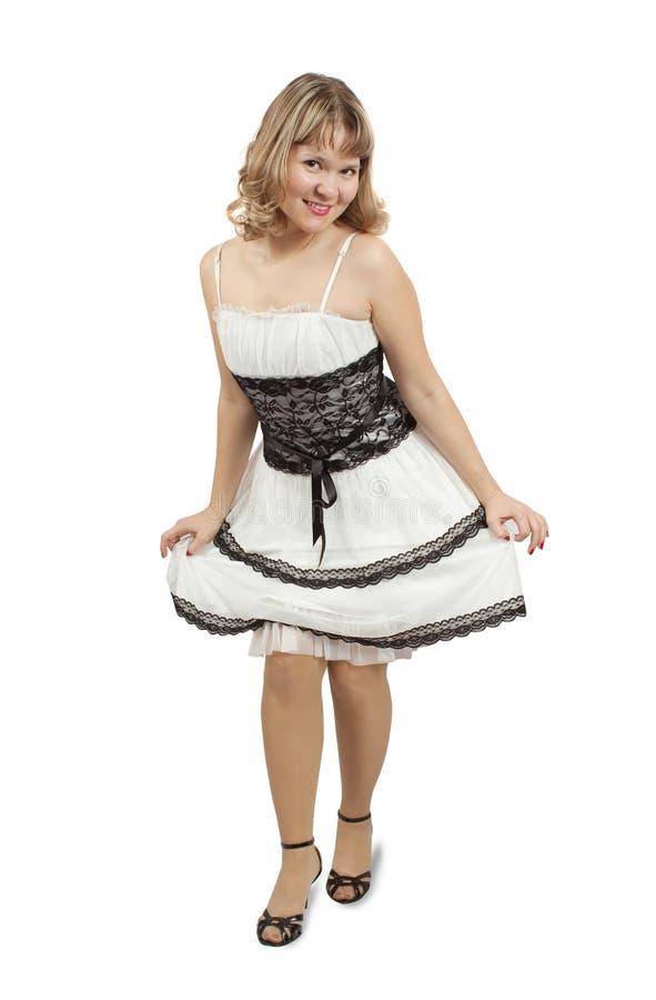 礼服豪华纵向白人妇女 免版税库存照片