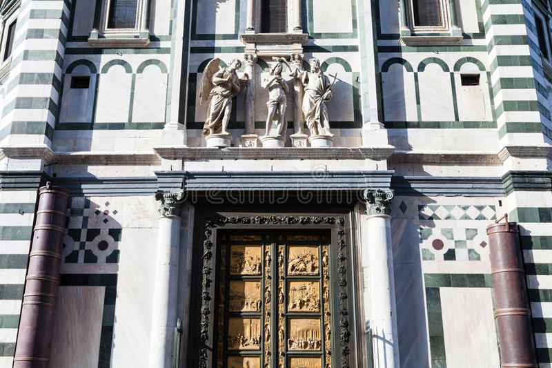 洗礼池墙壁有东部门的在佛罗伦萨 库存照片