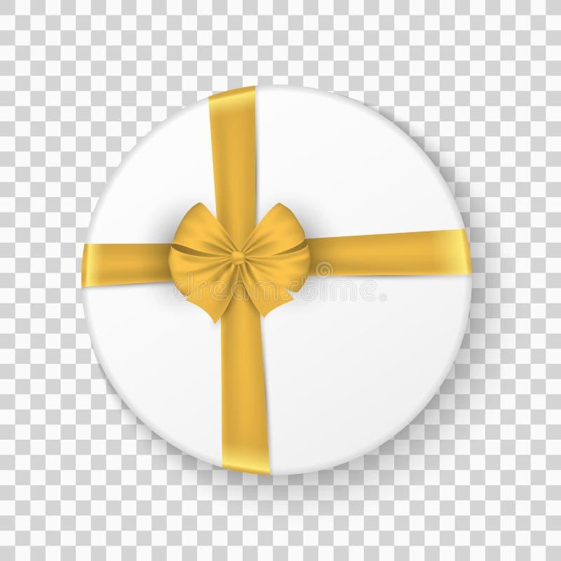 礼物关闭了有一把金弓的白色箱子在透明背景 圣诞节礼品 顶视图 欢乐的要素 也corel凹道例证向量 向量例证