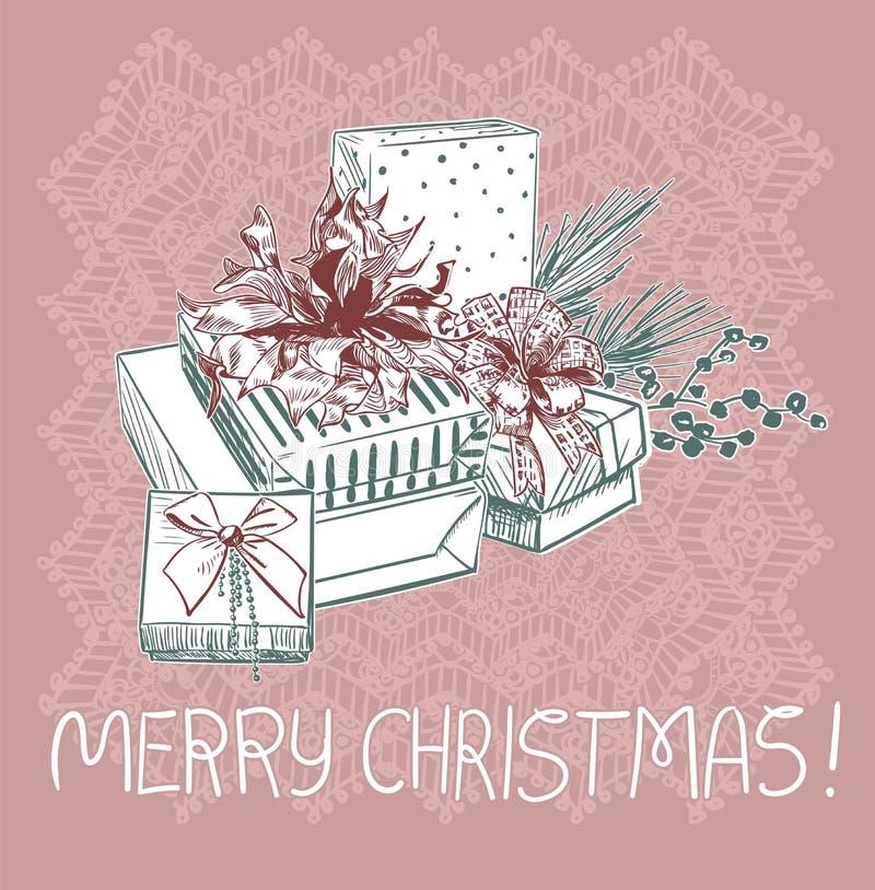 礼物圣诞节蓝色桃红色传统传染媒介卡片 库存例证