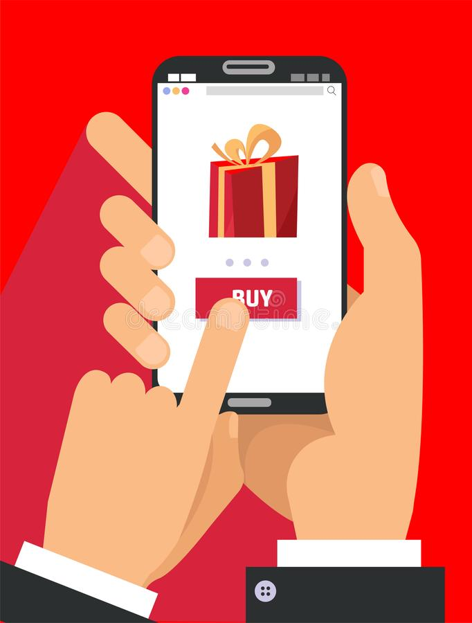 礼物在智能手机屏幕上的应用程序页 拿着有大礼物盒的两只男性手智能手机在屏幕上 网的流动概念 库存例证