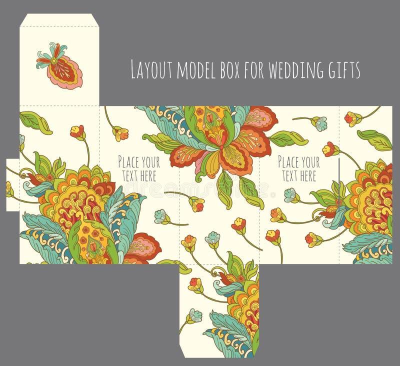 礼物婚礼厚待与自然样式的箱子模板 向量例证