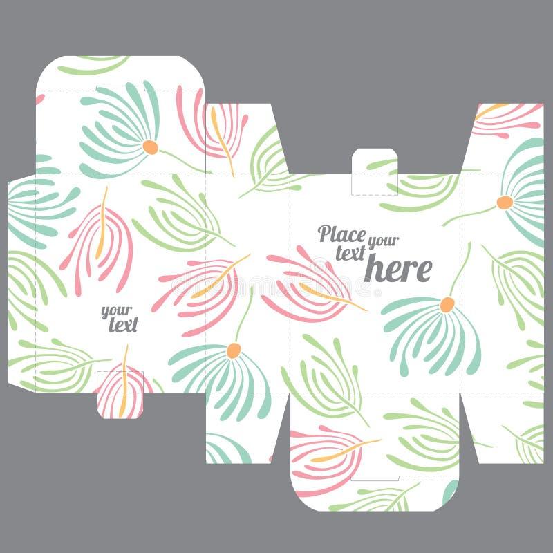 礼物婚礼厚待死箱子与自然样式的设计模板 库存例证