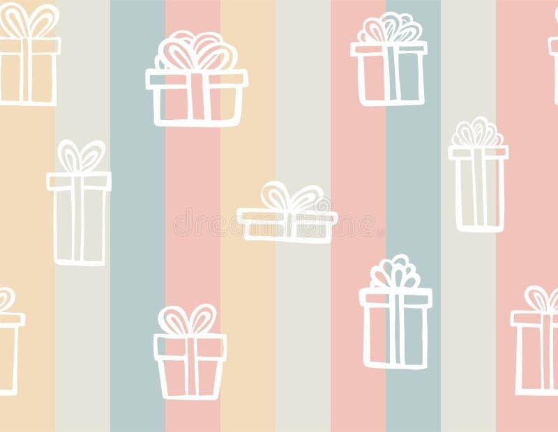 礼物无缝的样式 有丝带的颜色简单的当前箱子 图画递她的温暖的妇女年轻人的早晨内衣 贷方乱画的样式 镶边的背景 皇族释放例证