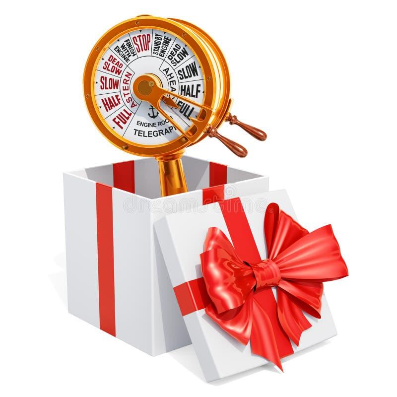 礼物概念,在礼物盒里面的机舱黄铜通信机 3d关于 库存例证