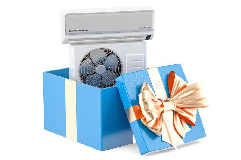 礼物概念,在礼物盒里面的空调器 3d翻译 库存例证
