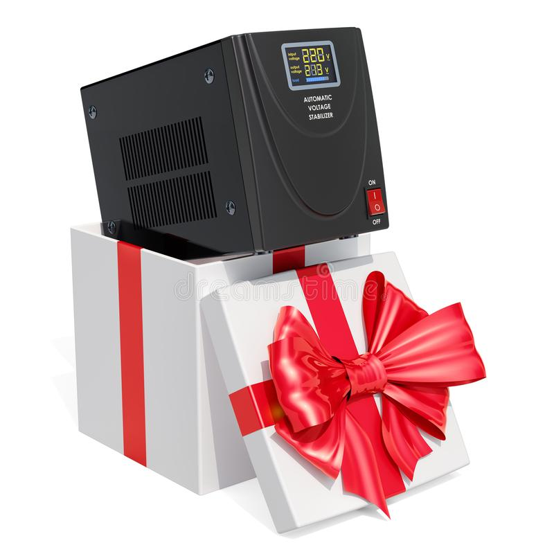 礼物概念,在礼物盒里面的自动电压安定器 3D r 库存例证