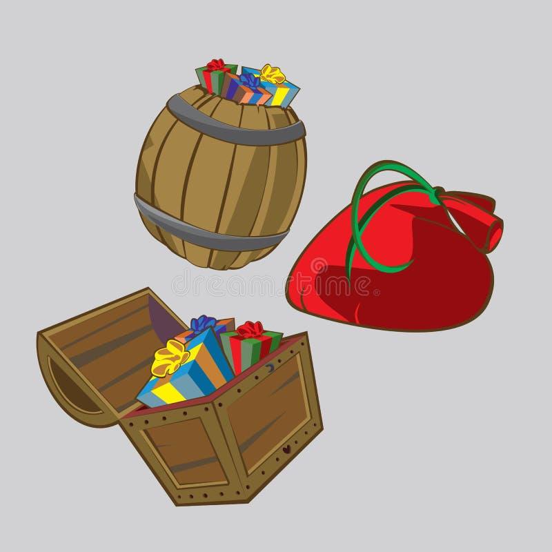 礼物汇集用不同的容器 免版税库存图片