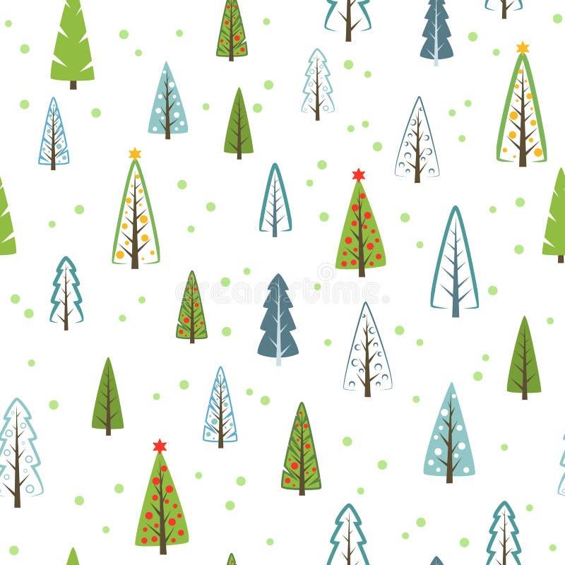 礼物的各种各样的圣诞树无缝的样式,墙纸 库存例证