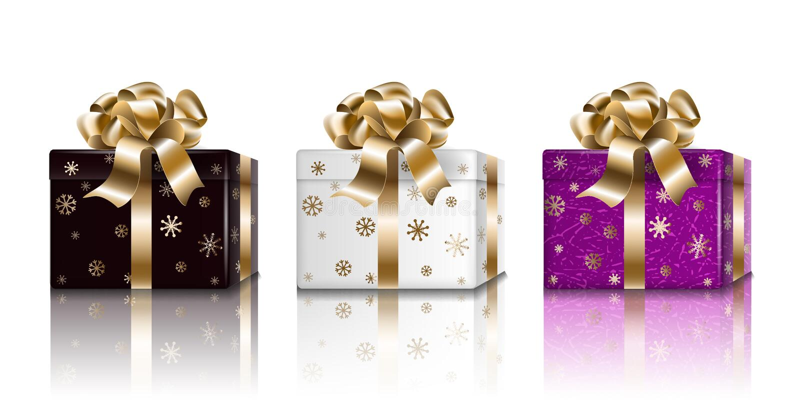 礼物盒假日新年集合 设计的黑白色紫色3d现实惊奇箱子,隔绝在轻的背景,传染媒介 向量例证