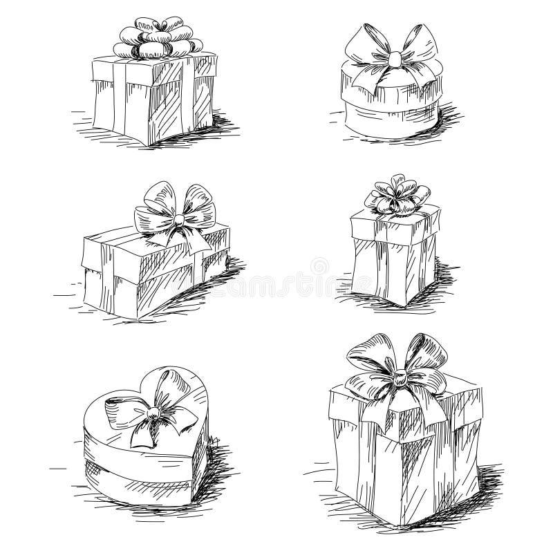 礼物盒剪影 皇族释放例证
