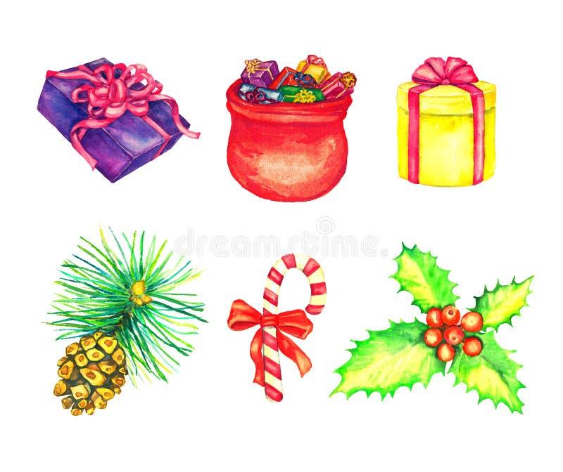 礼物盒和充分圣诞老人的袋子礼物、霍莉束用红色莓果和镶边棒棒糖,杉木与锥体 皇族释放例证