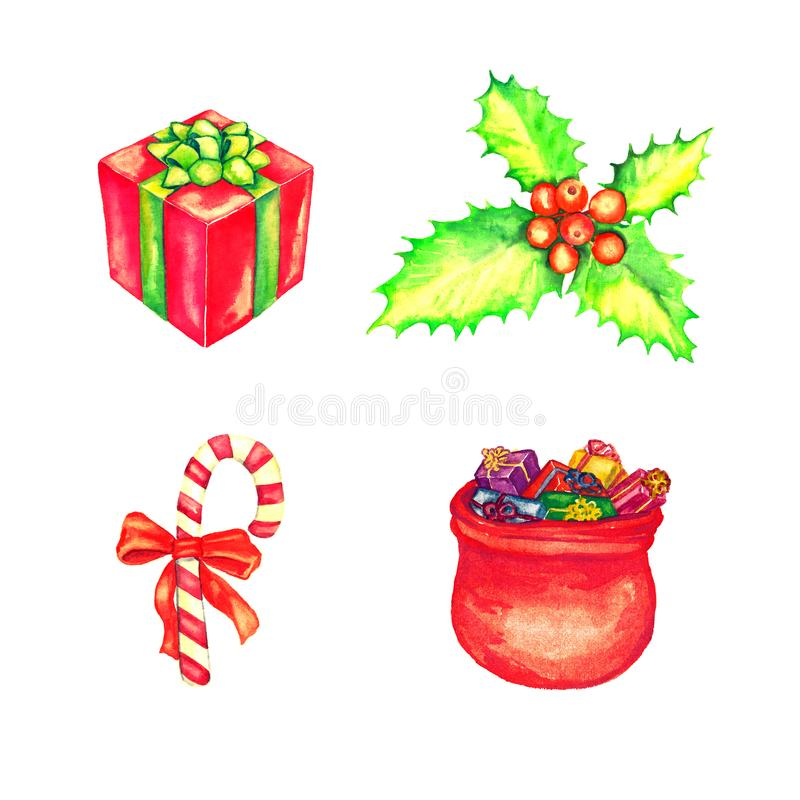 礼物盒和充分圣诞老人的袋子礼物、霍莉束用红色莓果和镶边棒棒糖 皇族释放例证
