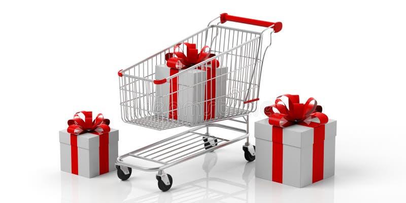 礼物盒和在白色背景隔绝的购物车 3d例证 皇族释放例证