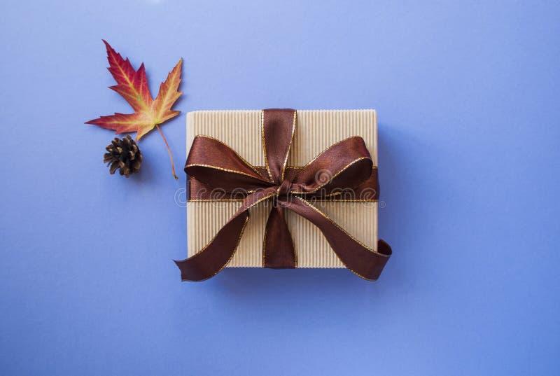 礼物盒和秋天在淡色紫色背景生叶 库存照片