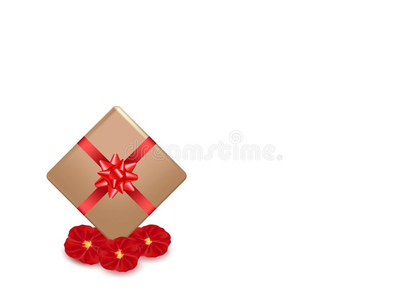 礼物盒和红色书法条纹 玫瑰花瓣花 情人节贺卡设计,3d在白色背景的样式 向量例证