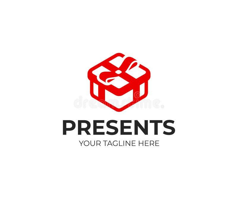 礼物盒商标模板 有弓传染媒介设计的红色当前箱子 向量例证