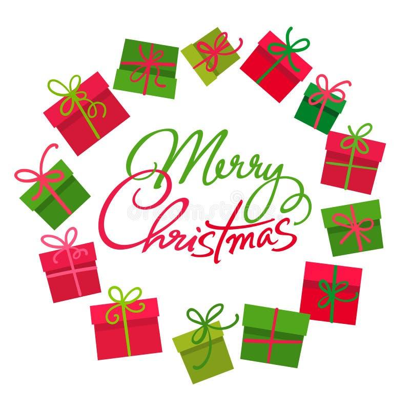 礼物盒圆的框架圣诞快乐文本,盘旋五颜六色的当前箱子与红色和绿色弓结 向量 皇族释放例证