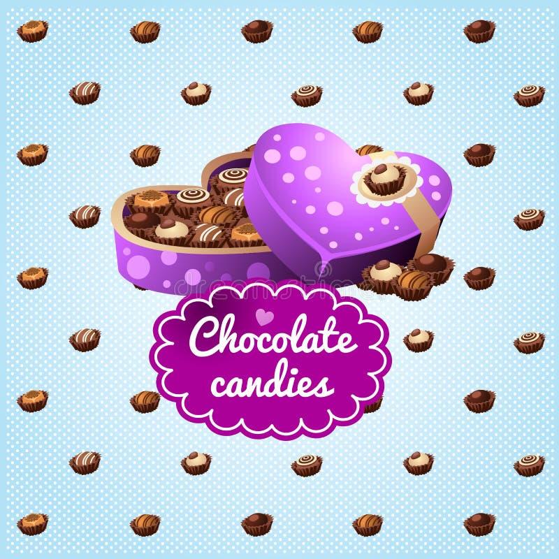 礼物盒巧克力以心脏的形式 向量例证