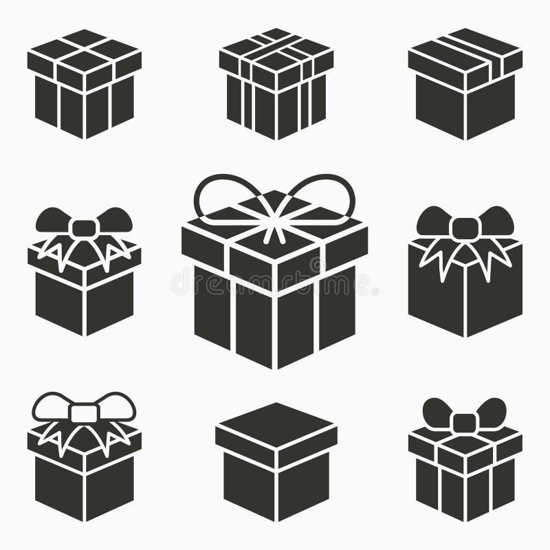 礼物盒惊奇象 套礼物,包裹,折扣,交付,生日标志 被隔绝的传染媒介例证  向量例证