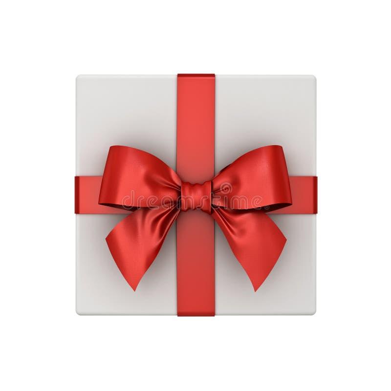 礼物盒或当前箱子顶视图有在白色背景隔绝的红色丝带弓的 免版税库存图片