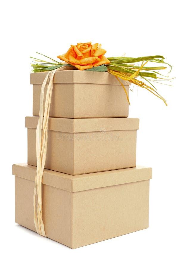 礼物盒栓与另外颜色和topp自然酒椰  图库摄影