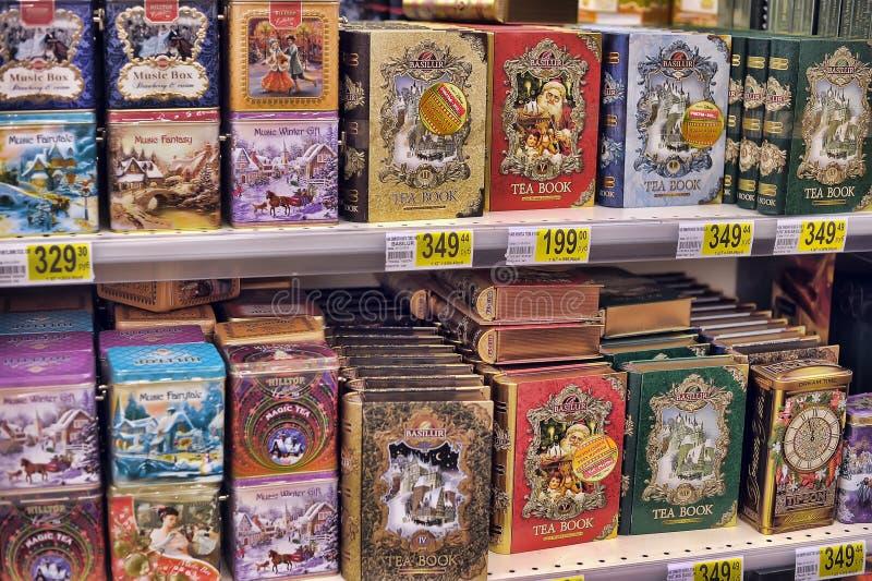 礼物盒用在圣诞节的茶 免版税库存照片