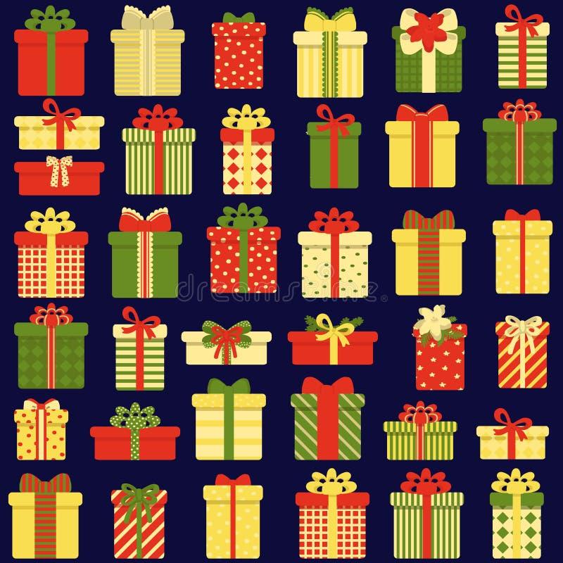 礼物盒的无缝的样式在黑暗的背景的 r r 免版税库存照片