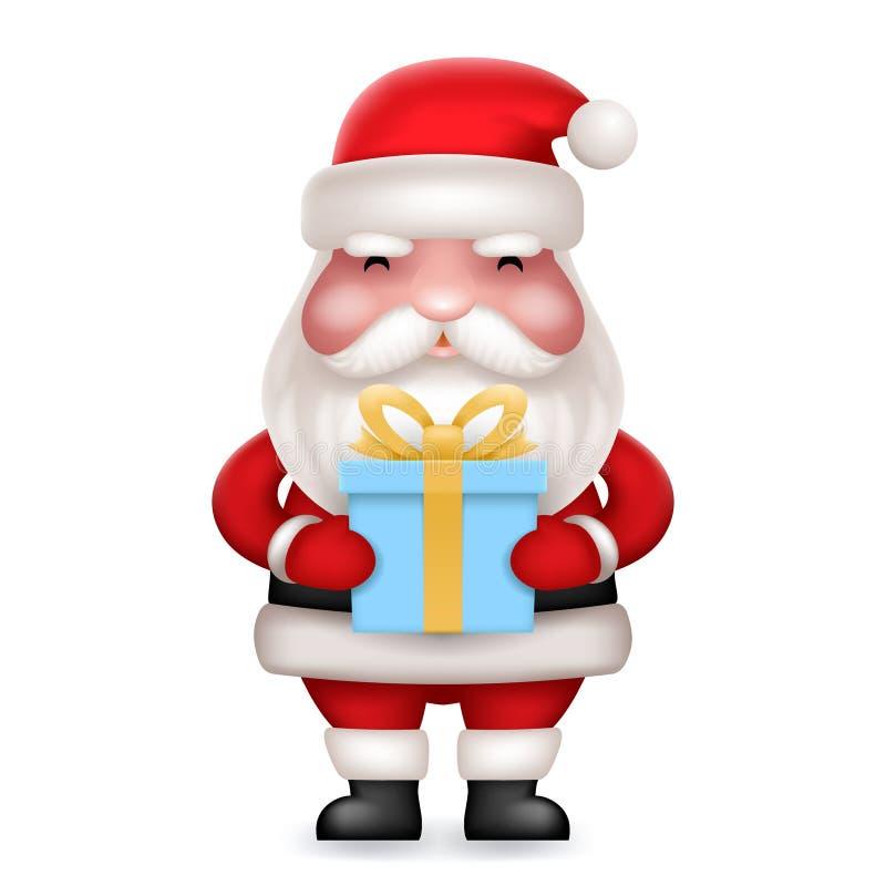 礼物盒礼物逗人喜爱的3d现实动画片圣诞老人玩具字符象隔绝了传染媒介例证 库存例证