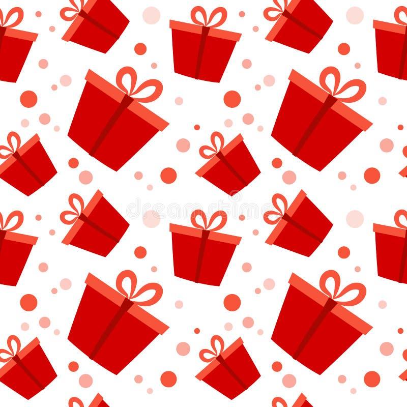 礼物盒红色当前组装圣诞节或生日,平的传染媒介例证,无缝的样式 库存例证