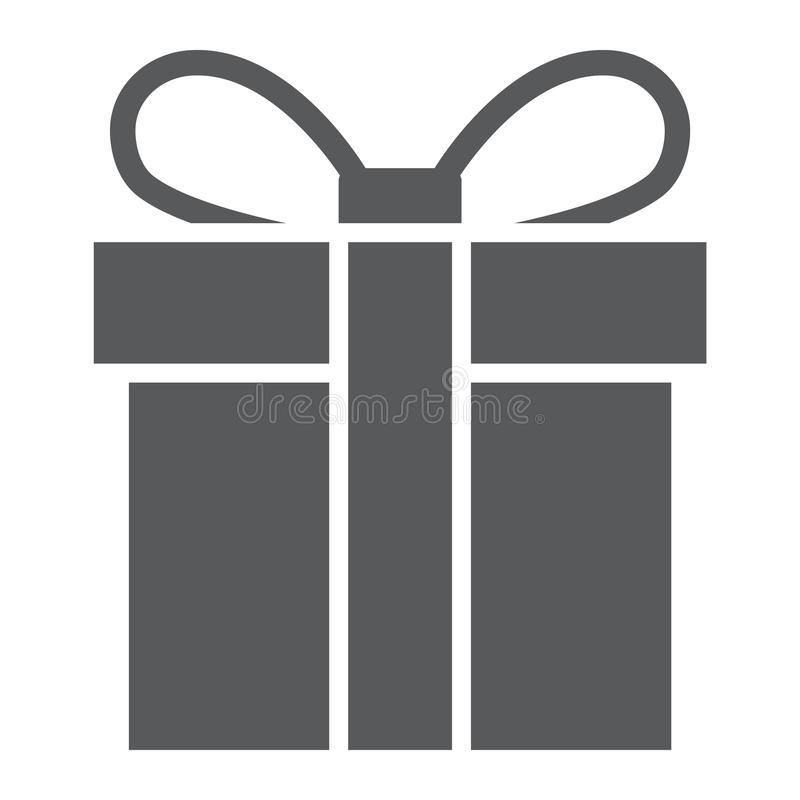 礼物盒纵的沟纹象、圣诞节和包裹,当前标志,向量图形,在白色背景的一个坚实样式 库存例证