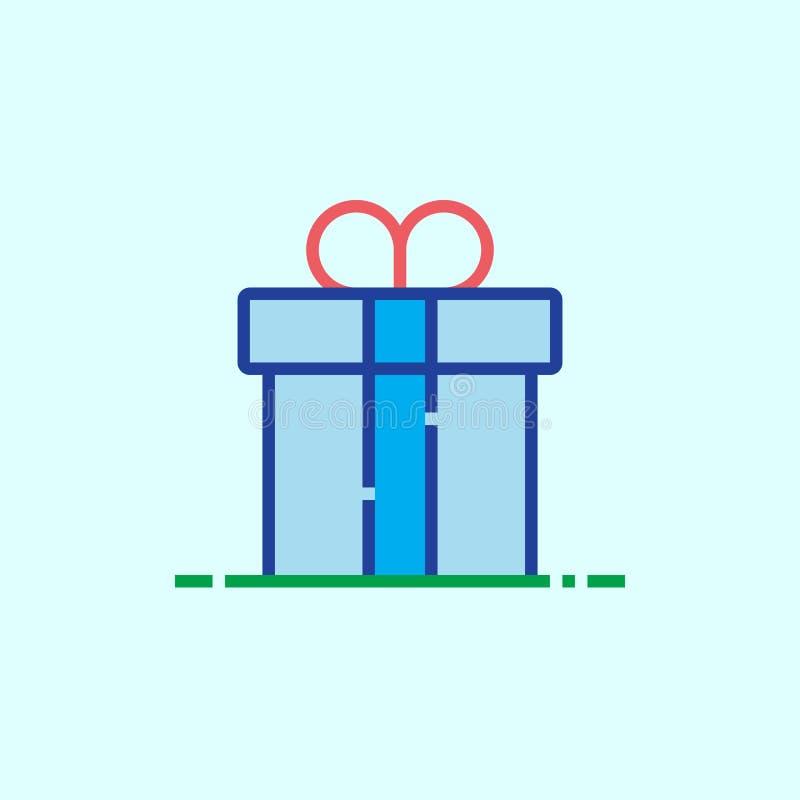 礼物盒线象,概述传染媒介商标例证,线性col 向量例证
