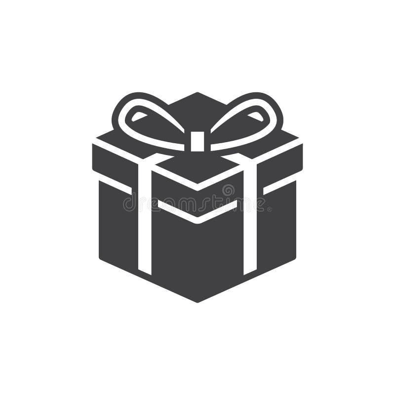 礼物盒象传染媒介,被填装的平的标志,在白色隔绝的坚实图表 库存例证