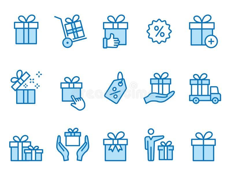 礼物盒象集合 黑传染媒介例证 r 库存例证