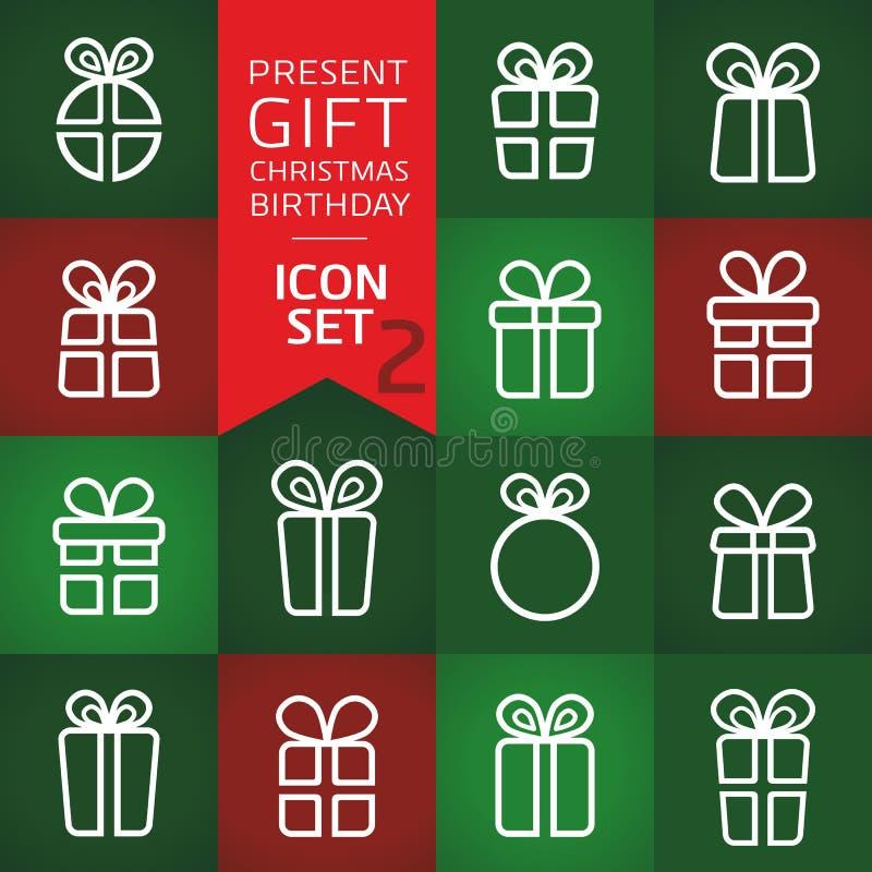 礼物盒,当前箱子象,现代等高样式,导航简单desing 适用于圣诞卡片,生日贺卡,邀请汽车 皇族释放例证