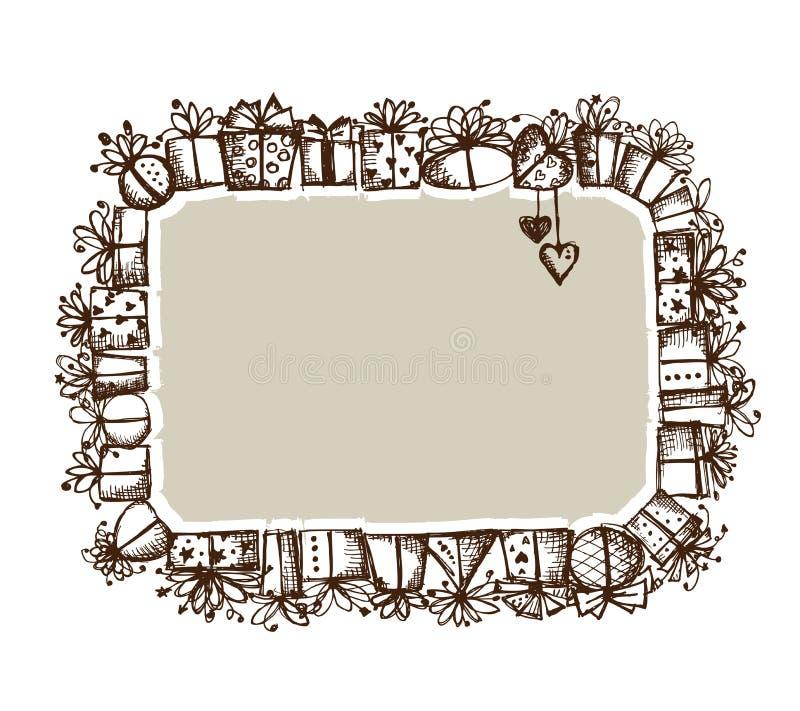 礼物盒,您的设计的框架 皇族释放例证